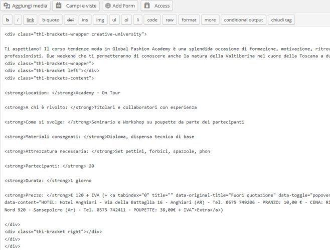 """Questa è invece la modalità """"codice"""" dove si accede direttamente all'html - meno pratica ma più potente"""