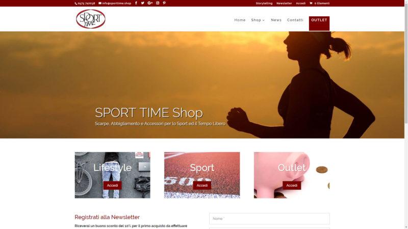 Sito realizzato per Sport Time Shop